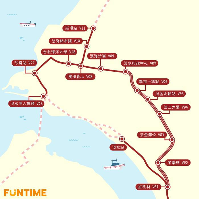 將於11/15通車的第一期藍海線,新增漁人碼頭站、沙崙站以及台北海洋大學站。 圖...