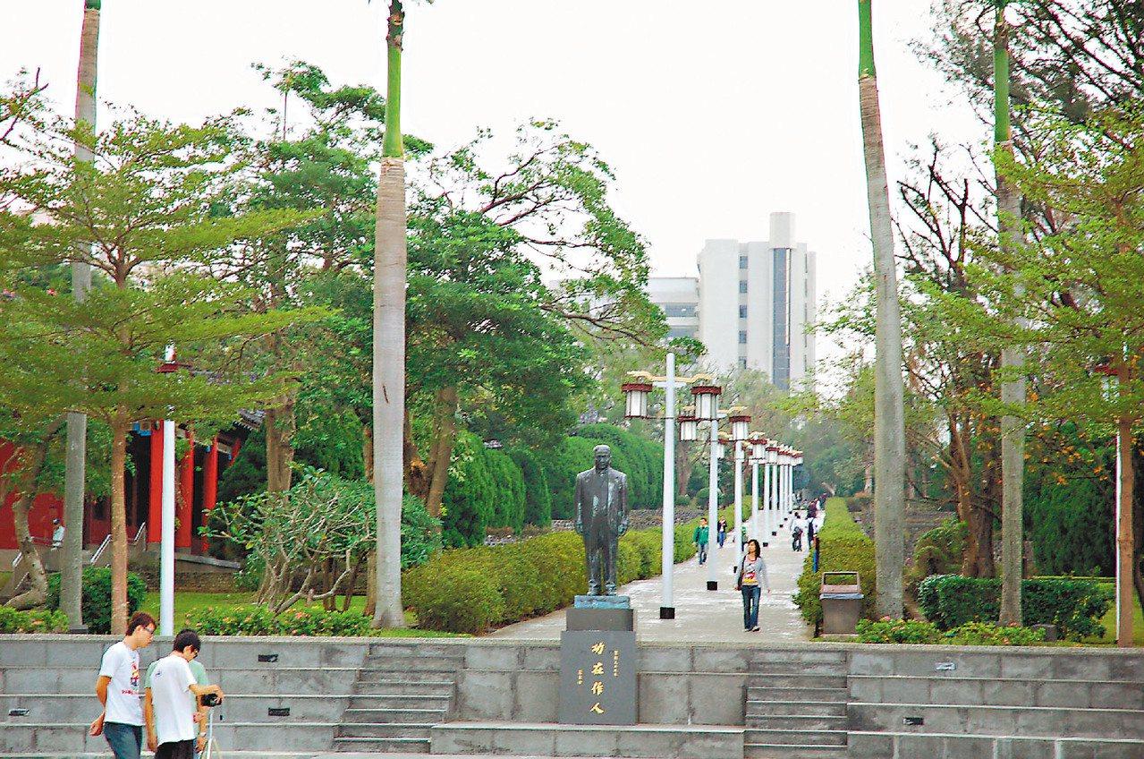 淡江大學的宮燈大道。 圖/黃兆璽 攝影