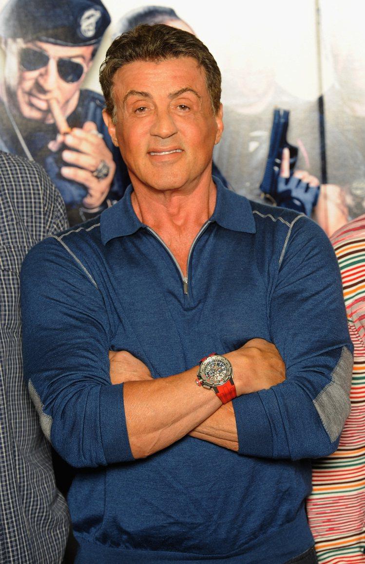 史特龍於「浴血任務 3」倫敦發佈會及電影拍攝期間曾經配戴Richard Mill...