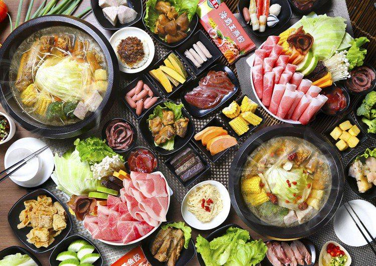 海霸王新推出「黑珍豬 豚火鍋」,主打台灣豬搭配麻油湯底、無限取用的自助吧。圖/海...