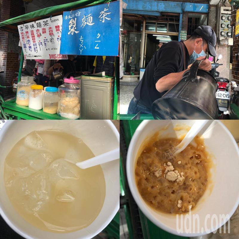 青山宮邀請經營二十多年的古早味麵茶車吳先生,前來廟宇讓民眾免費品嚐兒時的味道。記者潘永鴻/攝影