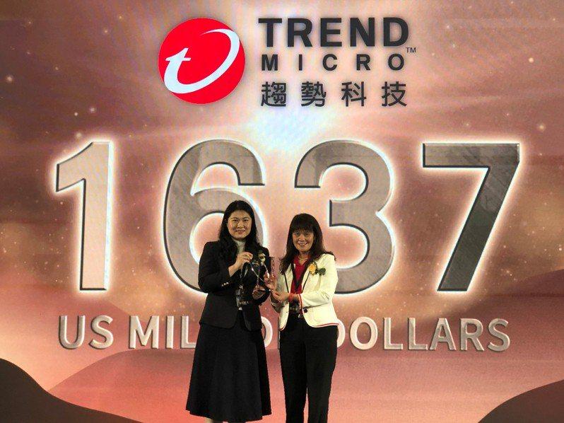 2020年「台灣最佳國際品牌調查」今日揭曉,國際資安廠商趨勢科技重返榮耀,以16.37億美元品牌價值摘冠,由執行長陳怡樺領獎。 業者/提供