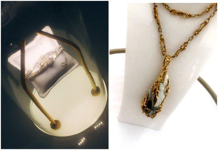 橫跨120年的古董手表與珠寶項鍊,似帶人重返美好時光、懷舊定格。記者釋俊哲 / ...