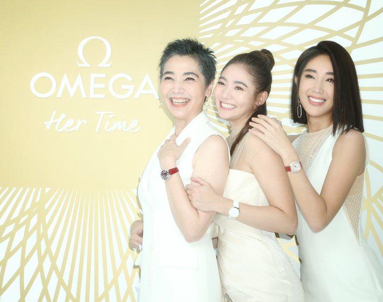 「一家人」的賴佩霞、隋棠、謝沛恩,今日於OMEGA「我的美麗時光」特展活動優雅同...