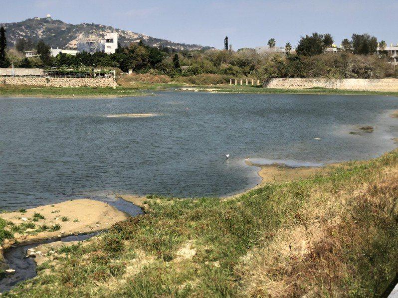 金門因為乾旱,湖庫都乾枯快要見底,圖為小太湖因為缺水,出現沙洲。記者蔡家蓁/攝影