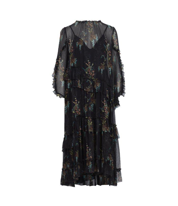 AllSaints Macey melisma兩件式印花長洋裝11,200元。圖...