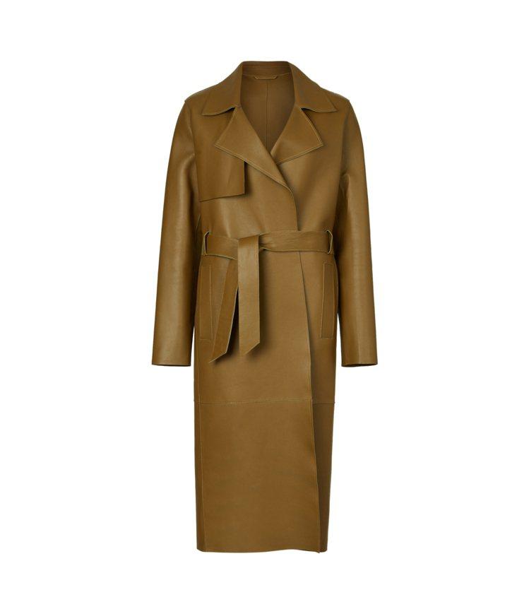 AllSaints Farren草綠色羊皮中長版風衣外套50,700元。圖/Al...