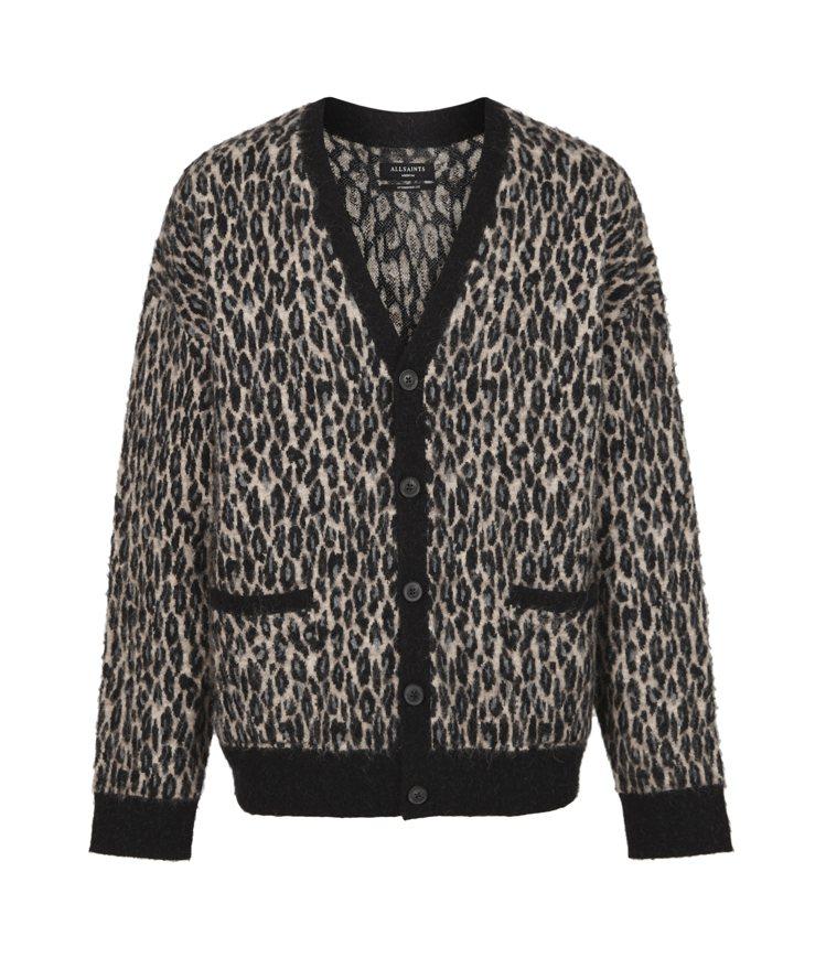 AllSaints Neko豹紋針織外套9,000元。圖/AllSaints提供