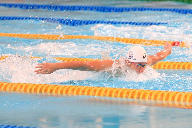 王冠閎在200公尺蝶式游出短水道世青紀錄。(中央社資料照)