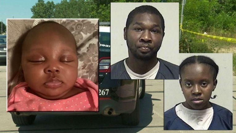 美國37歲男子跟他22歲女友涉嫌將他們2個月大的女兒 (左,攝於失蹤前幾天) 丟棄野外。圖/取自fox6