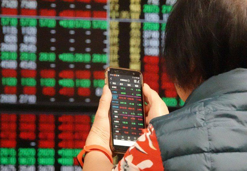 號子裡看盤的投資人拿出手機檢視持股。記者杜建重/攝影