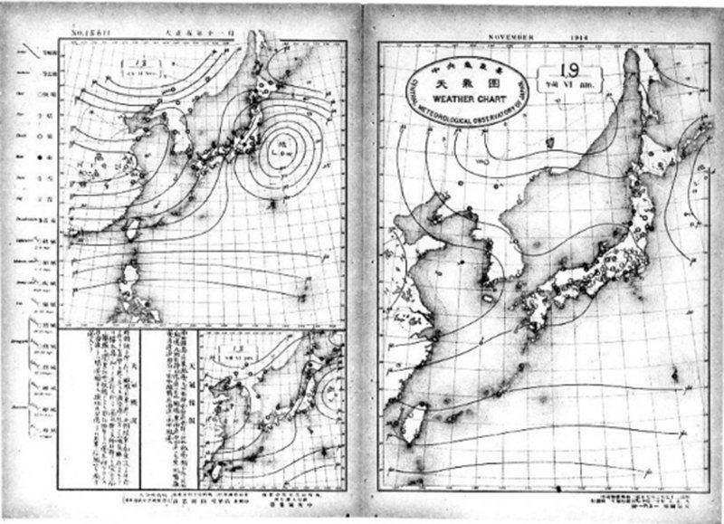 右側氣象圖,1918 年11月 19 日上午 6:00 東京有霧痕。(資料來源:...