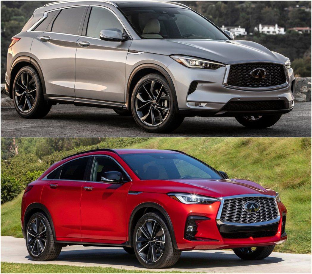 圖上:QX50車頭造型較為保守,圖下:QX55車頭造型更加狂野。 圖/Infin...