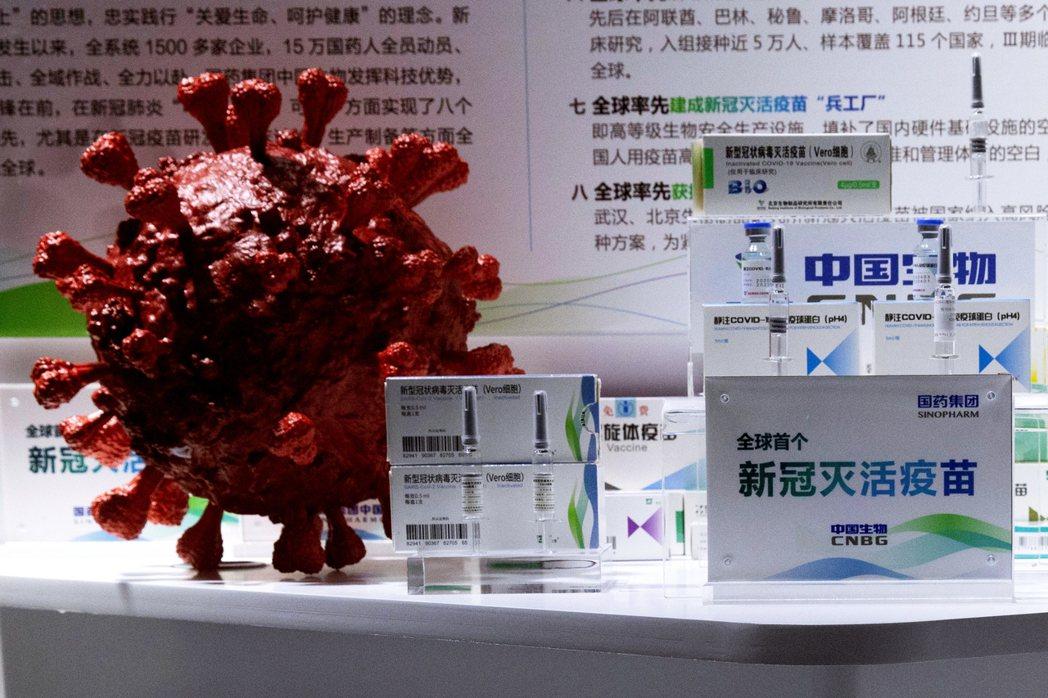 9月,中國國藥集團Sinopharm於一場在北京的貿易展覽會上展示新冠肺炎之病毒...