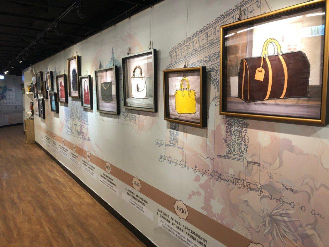 歷史經典故事傳承區,藉由精彩的導覽可以了解更多包包的歷史! 呂政道/攝影