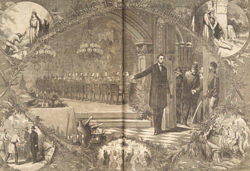 一八六四年,納斯特(Thomas Nast)為《哈潑週刊》(Harper's Weekly) 畫的插圖〈聯邦聖誕晚宴〉('The Union Christmas Dinner')(圖/時報出版 提供)