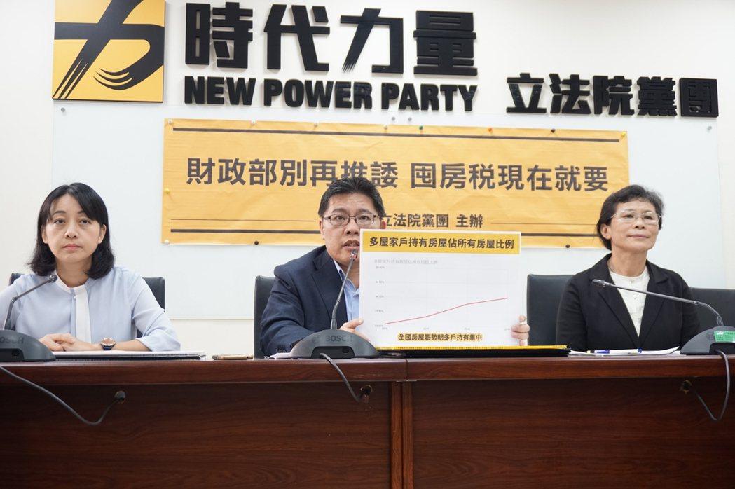 時力黨團呼籲,推動囤房稅刻不容緩。圖/時代力量黨團提供