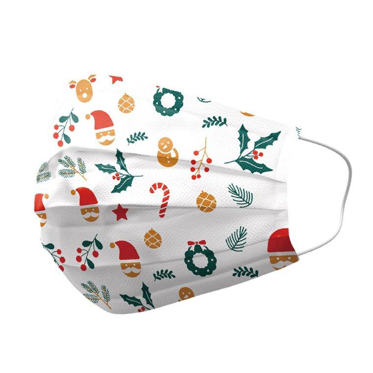 雙鋼印耶誕成人醫療口罩,生活市集2盒(共50入)特價711元。圖/生活市集提供