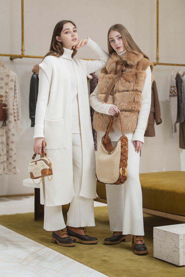 (左)Chloé米白色針織無袖罩衫71,400元、Franne登山靴32,500...