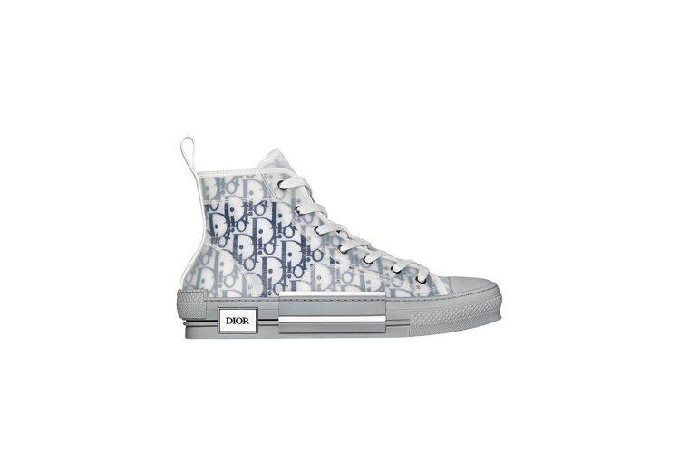 B23 DIOR Oblique海軍藍透明印花高筒休閒鞋,37,000元。圖/D...