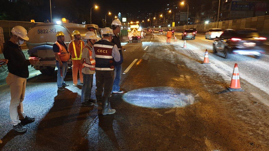 新北市工務局新建工程處施作同興路穿越高速公路地下道工程,在國道1號北上13公里處...