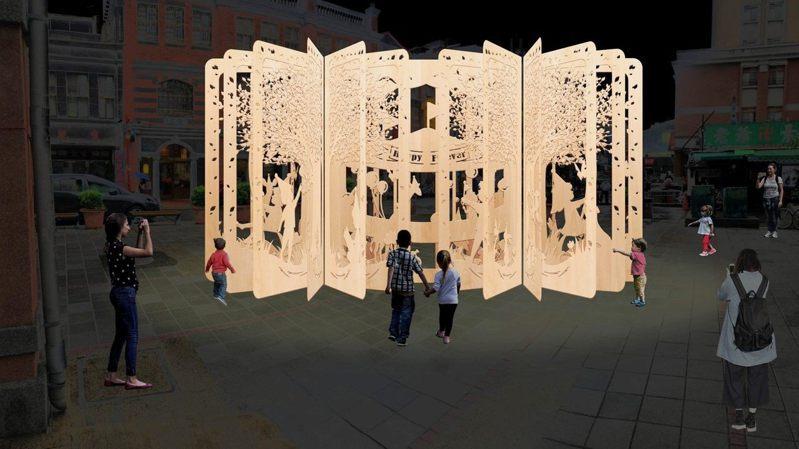 永樂廣場裝置物「永樂桃花源」使用木作板雕刻出花、鳥、動物及孩童的立體圖樣,並以永樂市場特有的布料點綴,360度的環型設計從各個角度都能看見不同驚喜。 圖/觀傳局