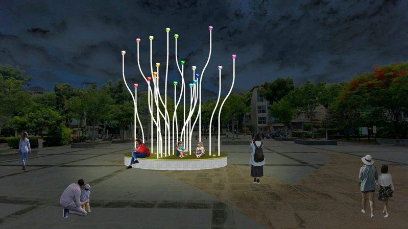 民生公園的「微萌之森」以金屬彎管象徵萌生而出的芽苗,隨風轉動的彩色風洞球,展現大自然生生不息的力量。 圖/觀傳局