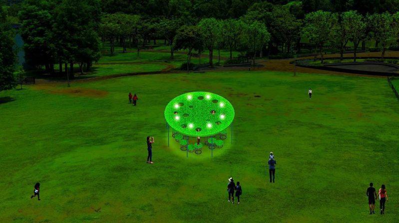 直徑5公尺的「青青草原」漂浮在大湖公園內的ㄧ角,挖空的設計讓民眾可以探出頭來產生有趣的互動。 圖/觀傳局