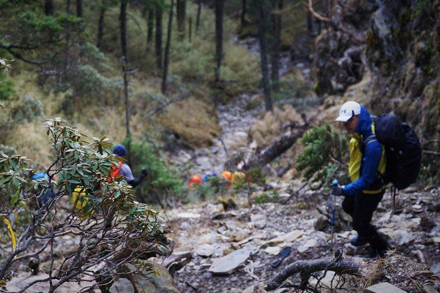 此次山難,應是隊伍決定撤退後,於一處乾溪溝的下切路段走過頭,從而迷途。 圖/作者自攝