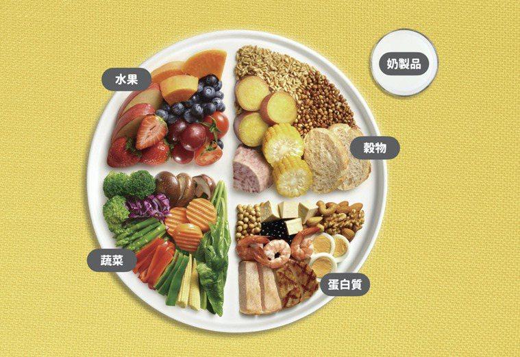 美國飲食指南將食物分成水果、穀物、蔬菜、蛋白質、奶製品等五大類,每日攝取均衡營養...