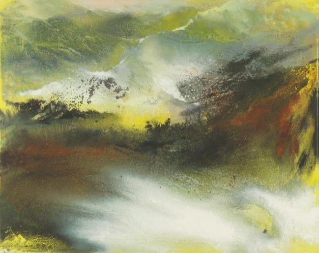 「愛・無盡——張淑芬個展」作品:在宇宙萬象中,尊崇山形大地的肅穆之感。畫家曾自言...