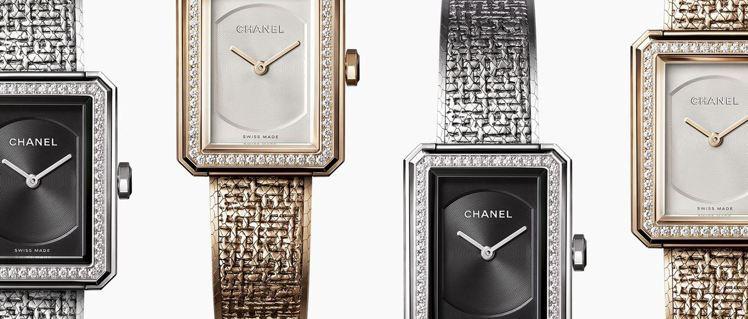 香奈兒BOY∙FRIEND貴金屬壓印斜紋軟呢圖騰腕表。圖/香奈兒提供