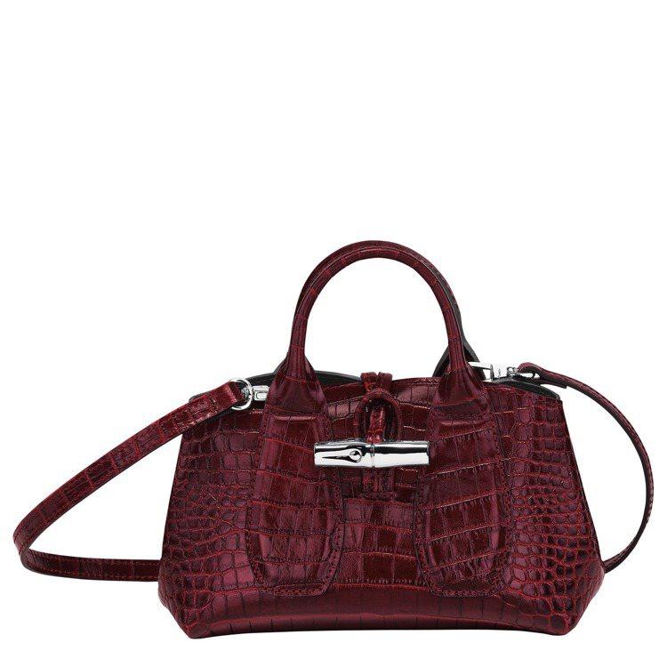 Roseau Croco酒紅色XS手提包,17,400元。圖/LONGCHAMP...