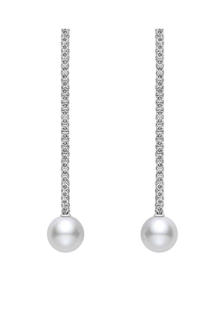 MIKIMOTO垂墜珍珠鑽石耳環長鑽石鍊款(珍珠10.0-10.9毫米),37萬...