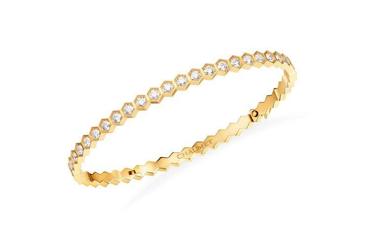 CHAUMET Bee My Love 18K黃金軟手鐲鋪鑲明亮式切割鑽石,45...