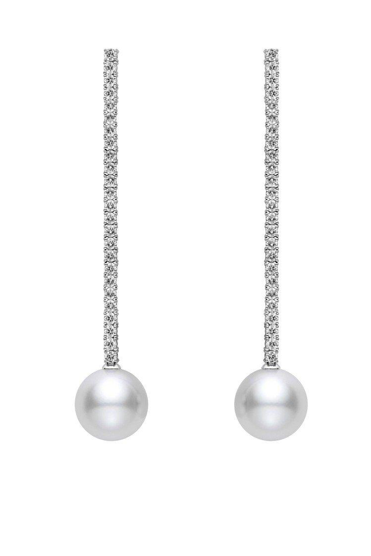 MIKIMOTO垂墜珍珠鑽石耳環長鑽石鍊款(珍珠12.0-12.9毫米),48萬...
