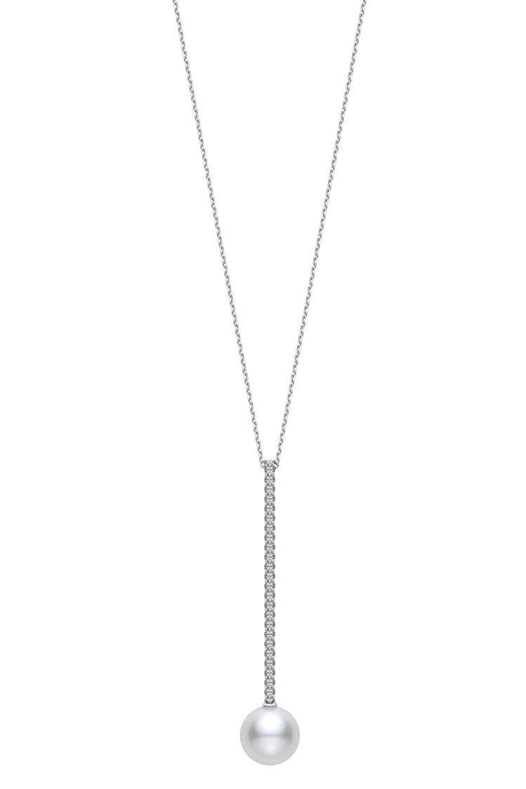 MIKIMOTO垂墜珍珠鑽石項鍊,39萬元。圖/MIKIMOTO提供