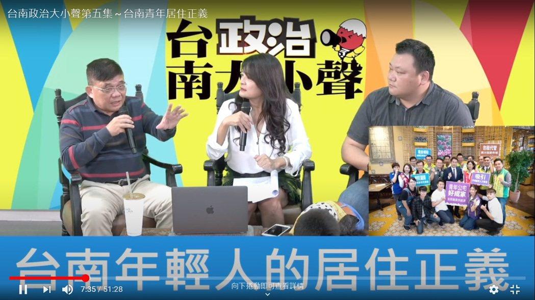 台南政治大小聲粉絲專頁直播頻道,昨晚以「台南市青年居住正義」為題討論年輕人居住正...