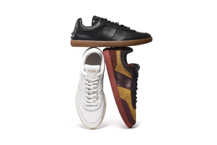 TOD'S秋冬運動鞋款以修長鞋身和拼接元素呈現出復古風情,不同材質、色彩的面料組...