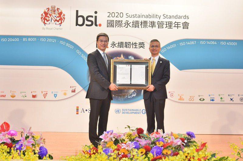 中華電信是全球電信產業首家,通過BSI「TCFD符合性查核」最高等級。中華電信總經理郭水義(右)代表參加授證典禮。中華電信/提供