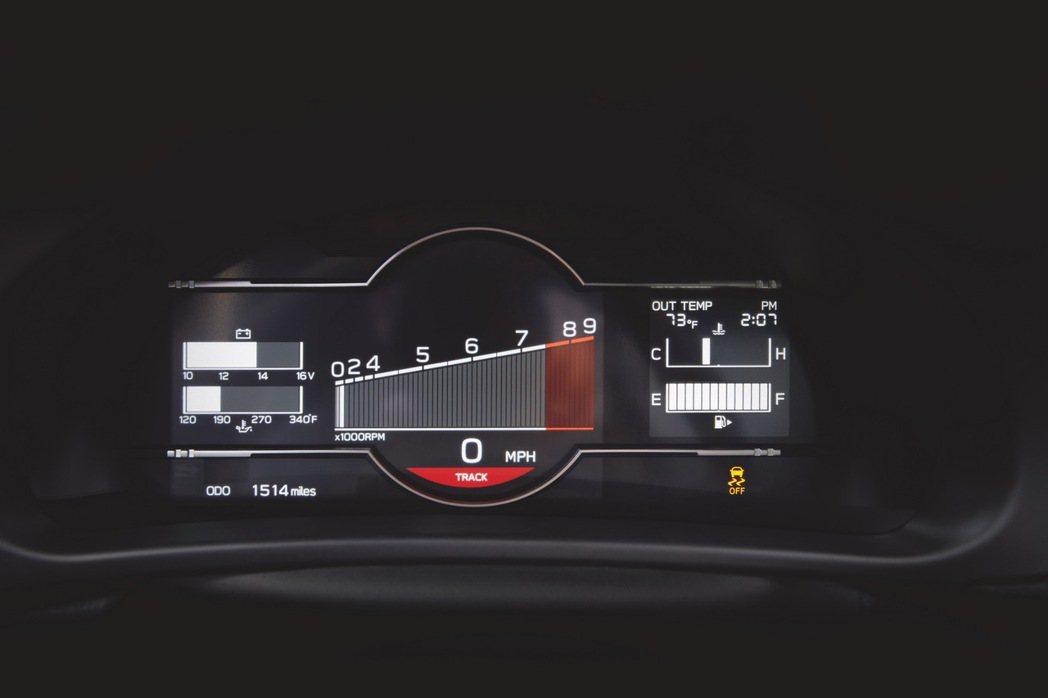 切換到Track模式的儀表。 圖/Subaru提供