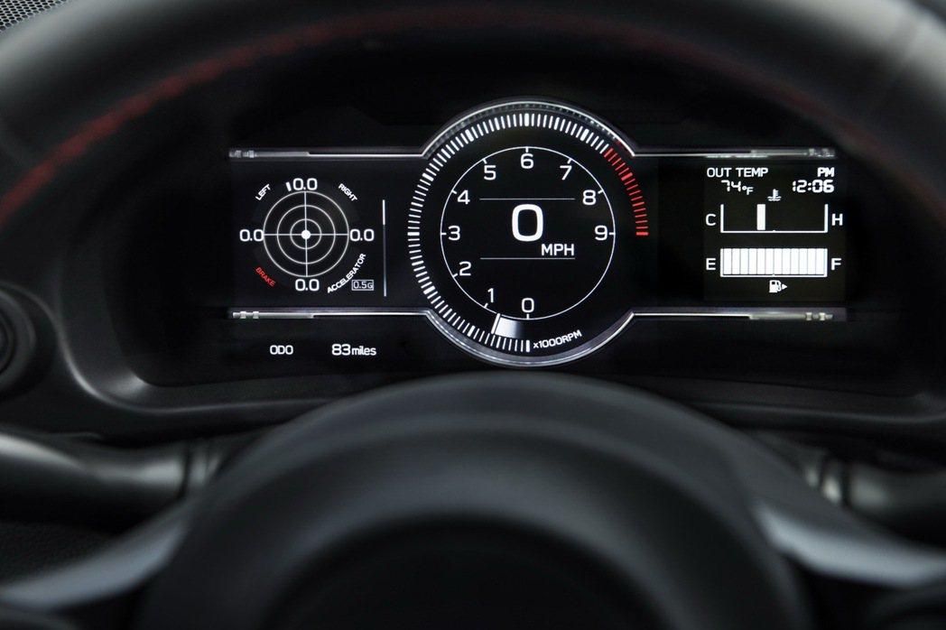 Subaru BRZ終於換上了全虛擬儀表。 圖/Subaru提供