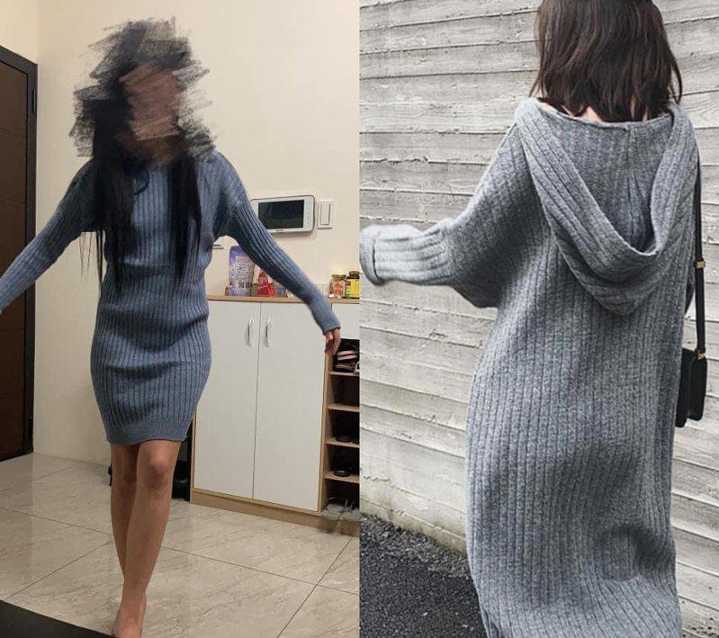 一名女網友網購了一件長洋裝,沒想到實物竟然與照片不一樣,但網友們都大讚她穿得比模特兒還好看。左圖是女網友試穿照片,右圖則為網路女模特兒照片。 圖/翻攝自「爆怨2公社」