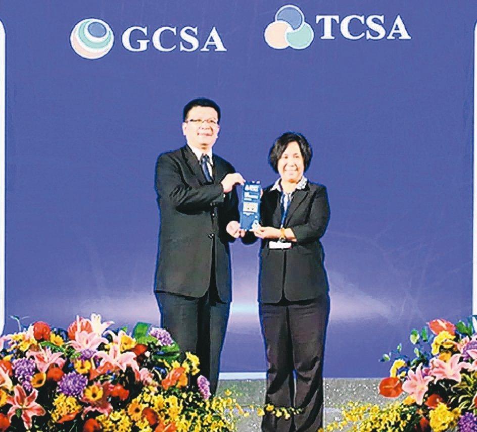全球人壽社會責任長高芬蒂(右)代表領獎。 全球人壽/提供