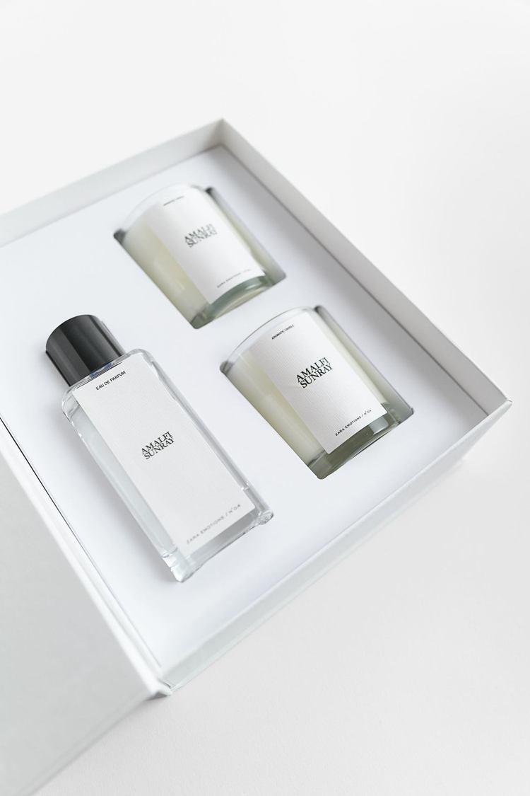 ZARA耶誕限定禮盒40ml香水、70公克香氛兩罐,官網限定銷售1,990元。圖...