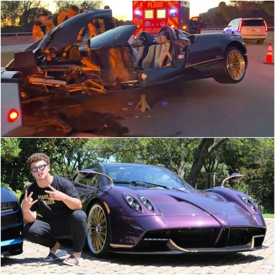 據事發現場的畫面顯示,價值350萬美金(約新台幣9986萬)的紫色帕加尼超跑撞得...
