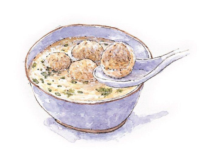 新竹代表美食:貢丸湯。繪者/郭正宏、圖/健行文化 提供