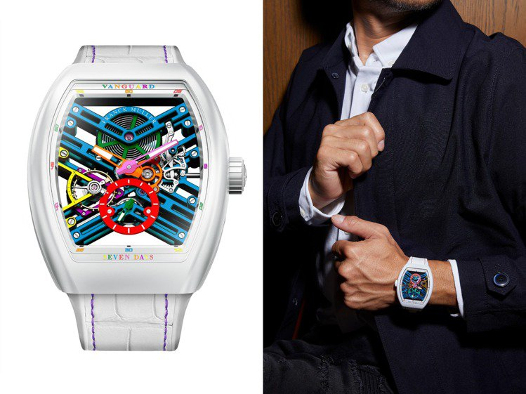 Franck Muller新款的VANGUARD七日動力儲存鏤空腕表,彩色、歡樂...
