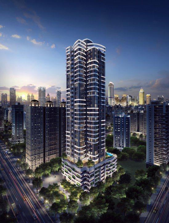 「立信天禧」規畫33層超高樓層建築、蝶形結構地標。圖/甲山林機構提供