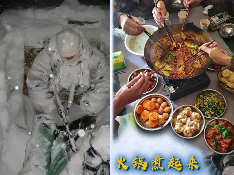 一邊是印軍被凍成冰雕,一邊是解放軍在前線吃火鍋,這張強烈對比照片在網路傳開引發熱議。圖/取自今日頭條